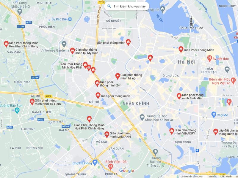 Địa chỉ map cửa hàng bán giàn phơi