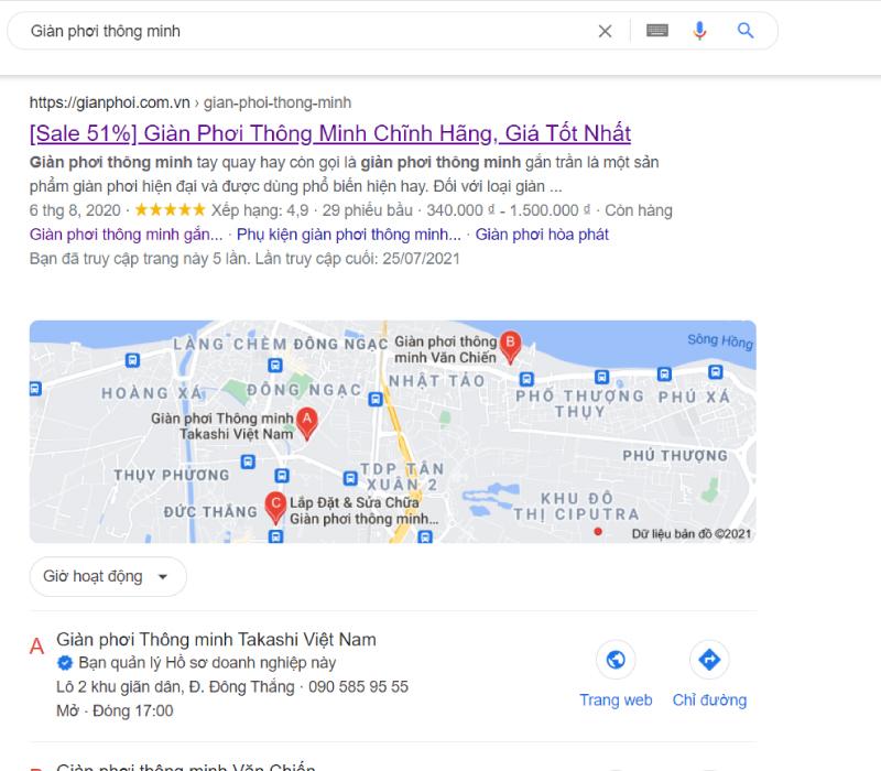 Mua giàn phơi trên Google